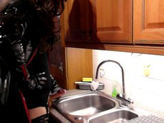 kitchen sink vidz wank in  super pvc and thigh boots