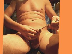 masturbation by vidz reciprocating rod  super ball in the dick with ejac