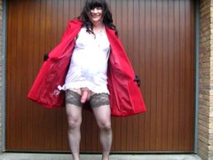 naked crossdresser vidz under her  super coat
