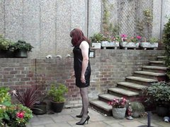 Trannie Friendly vidz Dress -  super Wanking in the garden