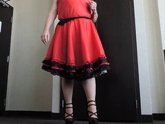 Sissy Ray vidz in Red  super Taffeta Dress in hotel room