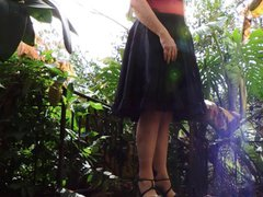 Sissy Ray vidz in Black  super Skirt Stripping outdoors