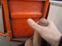 dude strokes vidz and cums  super on public bus