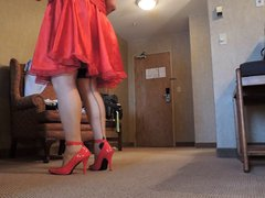 Sissy Ray vidz in Red  super Silky Dress and Red Heels
