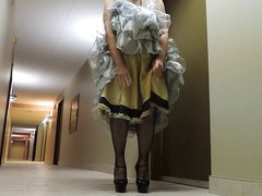 Sissy Ray vidz in Silver  super Evening dress in hotel corridor