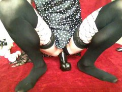 Toy play vidz in spotted  super silk chemise and mesh stockings 3