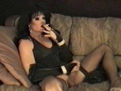 Cool Dark vidz Haired tranny  super smokes & masturbates