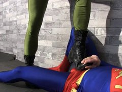 Superman Submits vidz Part 1  super GAY BALLBUSTING SPANDEX CHASTITY