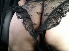 Crossdressed in vidz Black lace  super lingerie to cum in car