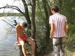 Cute boy vidz getting plowed  super by two gay mates outdoors