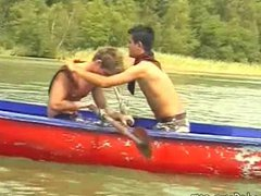 Hot boys vidz rowing in  super a boat and fucking on the beach