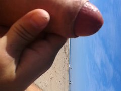 Shaved cock vidz cumming on  super the beach