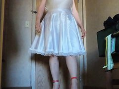Sissy Ray vidz in White  super Satin Sissy Lingerie