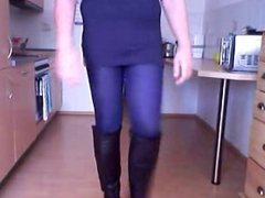 Crossdresser walk vidz in Boots  super and Minishirt