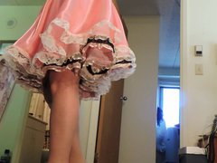 Sissy Ray vidz Twirling in  super pink sissy dress for Mike