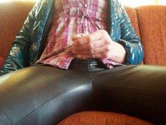 Masturbate in vidz Leather Leggings,  super green PVC Coat