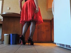 Sissy Ray vidz in Red  super Silky Dress and Slip