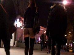 Brunette in vidz short stocking  super and high heels