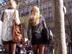 Blonde in vidz micro skirt  super pantyhose