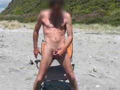 Stroking my vidz hard cock  super at the beach