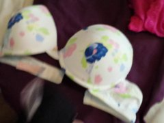 blowing a vidz huge load  super on 3 nice padded push up bras