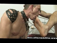 Master with vidz big cock  super spunks in gay submissives face