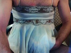 Crossdresser cums vidz in fishnet  super pantyhose and lingerie