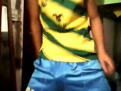 Teenboy sagging vidz in shiny  super blue shorts