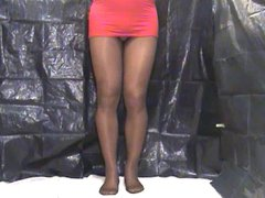crossdresser pantyhose vidz in red  super 044