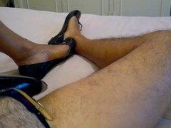 Cum in vidz my wife's  super ballet flats with my femenine shoes on!