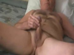Grandpa jerk vidz and cum  super in his bed