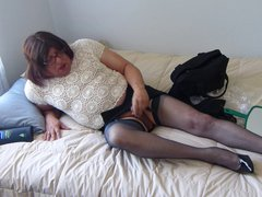 Sissy Training vidz in a  super new top and Blue Nylons
