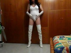 White lingerie vidz and boots