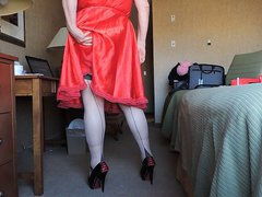 Sissy Ray vidz in Red  super Silky Dress and no panties