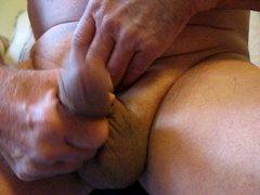 65 yrold vidz Grandpa #13  super mature penis close closeup wank uncut