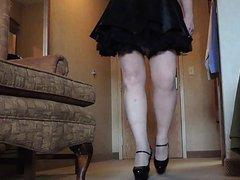 Sissy Ray vidz in Purple  super Corset and Black Maids Skirt