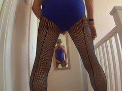 swimsuit leotard vidz fishnet tights  super and high heels
