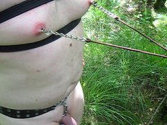nipple torture vidz with sharp  super clamps in the woods