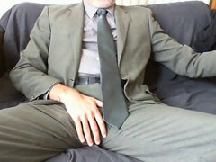 SEXY BEARDED vidz DAD AFTER  super WORK SUIT AND TIE RELIEF ON THE COUCH
