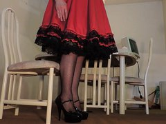 Sissy Ray vidz in Red  super Dress and Fishnet Stockings