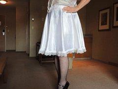 Sissy Ray vidz Slow Strip  super in white sissy dress