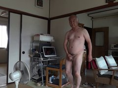 Japanese old vidz man masturbation  super erect penis semen flows
