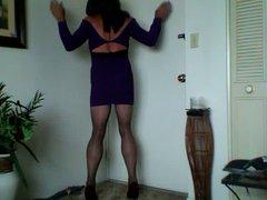 hosed harlot vidz in purple  super dress