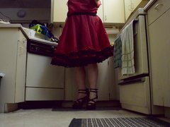 Sissy Ray vidz in Red  super Dress and High Heels