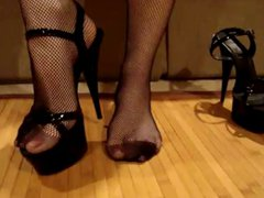 wearing heels vidz and fishnet  super stockings