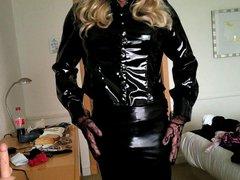 Daniella in vidz rubber skirt