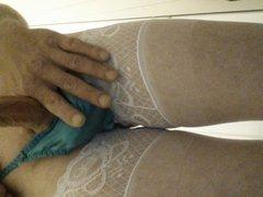 hard shaved vidz cock in  super satin panties & stockings cock ring