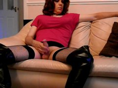 Tranny in vidz thigh boots  super playing with her big stiff cock