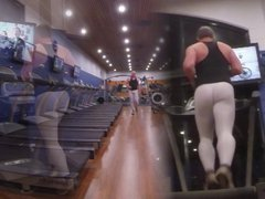 Guy in vidz white spandex  super at the gym