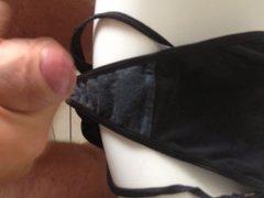 Cumming hard vidz into a  super dirty black thong